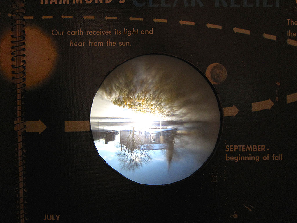 Wall Atlas, Camera Obscura installation detail (2010). Book altered into camera obscura with projection from outside.