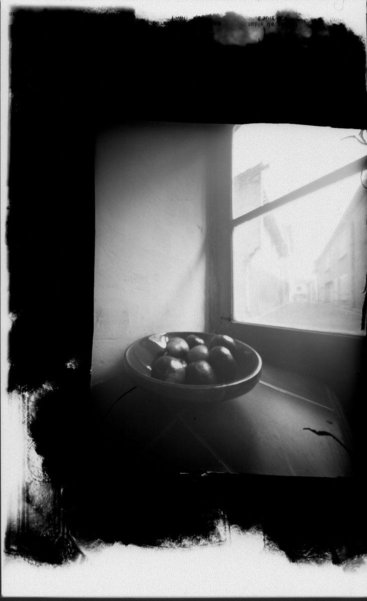 Le Pomme (apples) (2010).  Pinhole image taken with Petit Larousse book.