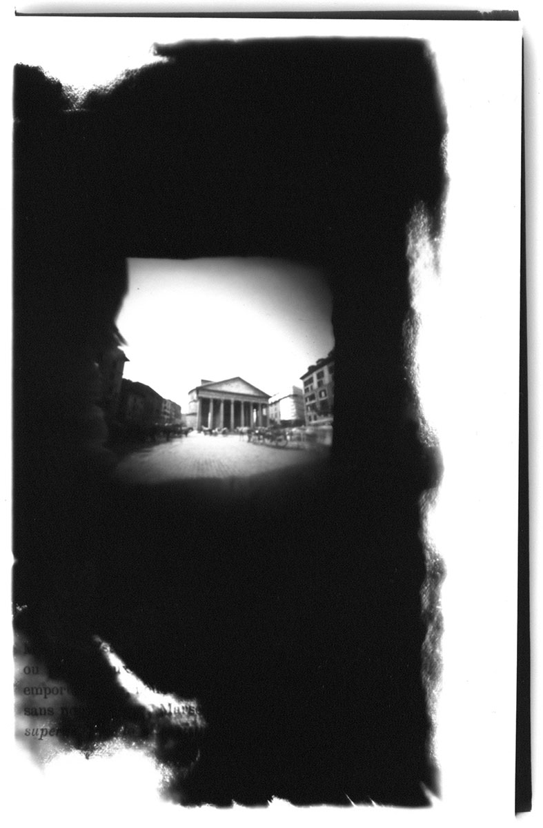 """Pantheon Rome (2003) silver gelatin print, 8""""x10"""". Image made using Rome Nouvelle Book Camera."""