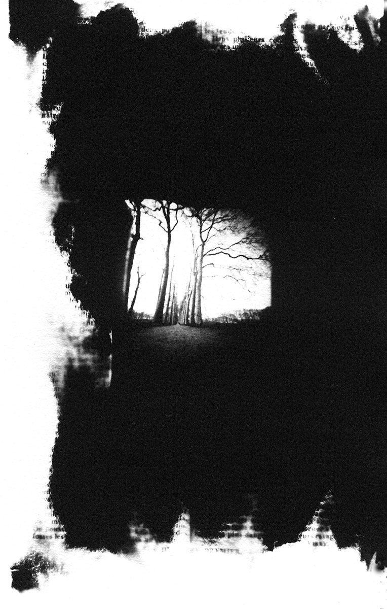 "Maison Rustique Allee. Silver print 9 ½"" x 6"" (2003)."