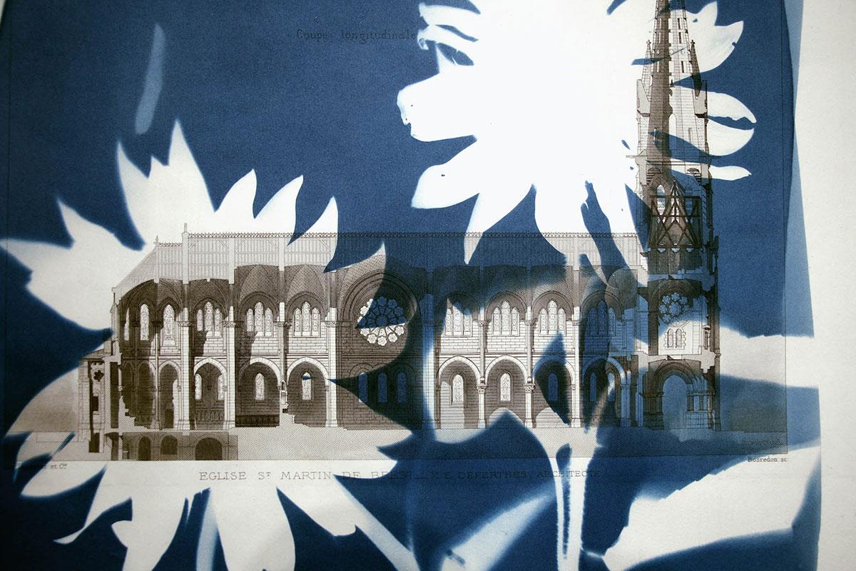 Shadow Structures, Tournesols et trois églises (Two Sunflowers) detail
