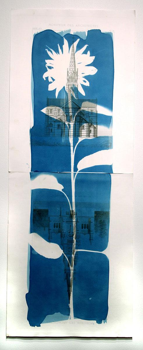 """Shadow Structures Tournesol et deux églises, 2018, 2 panels, 27 x 72 cm (10 3/4"""" x 28.5"""")"""